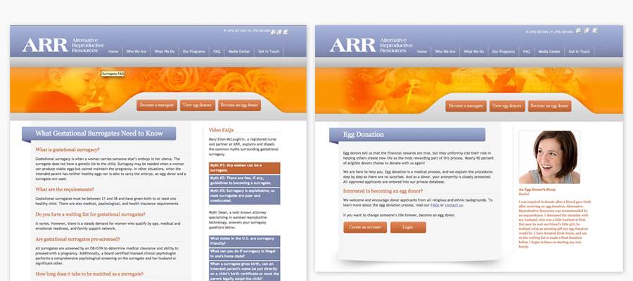 ARR Website Secondary Page Design